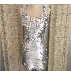 Club Monaco silver sequin dress sz xs disco